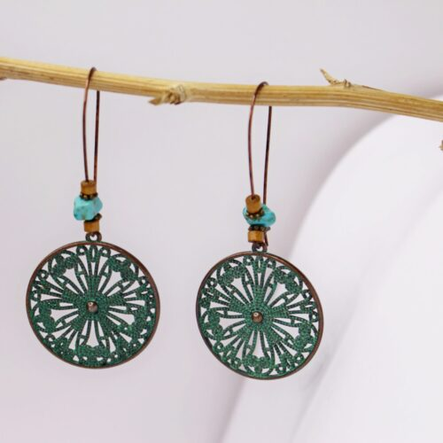 Pendientes artesanales color cobre y verde