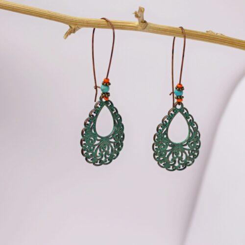 Pendientes artesanales peineta color cobrizo y verde