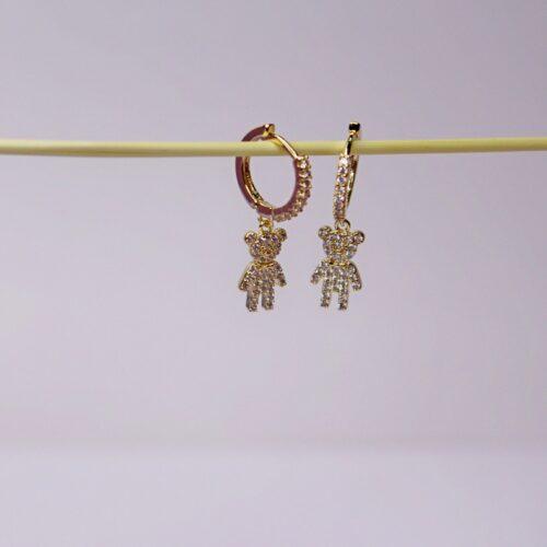 Pendientes chapados en oro ositos dorados con circonitas