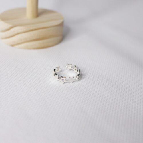 anillo ajustable estrellas plata 925 con circonitas