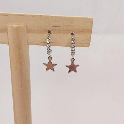 Pendientes mini aro con estrella y bolas