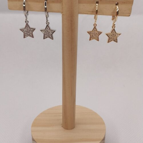 Pendientes mini aros estrellas en dorado y plateado