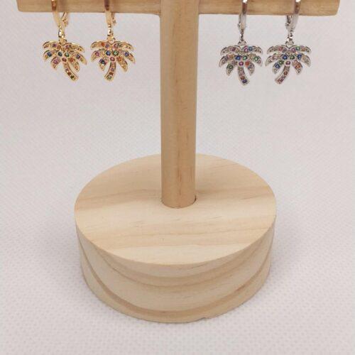 Pendientes mini aro palmeras en dorado o plateado con circonitas de colores