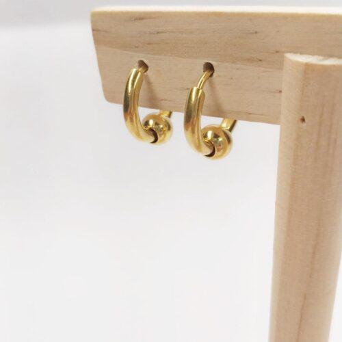 Pendientes mini aro dorados detalle bolita