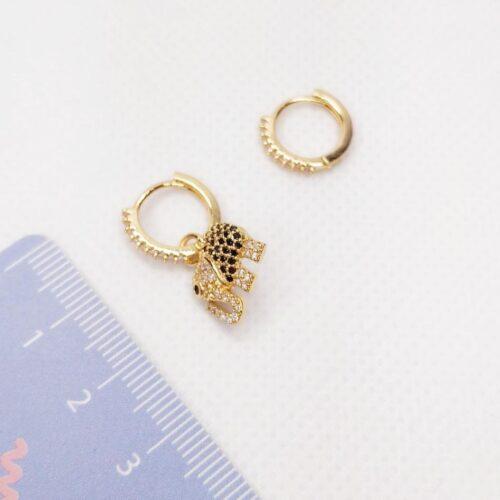 Pendientes mini aro detalle elefante con circonitas dorados