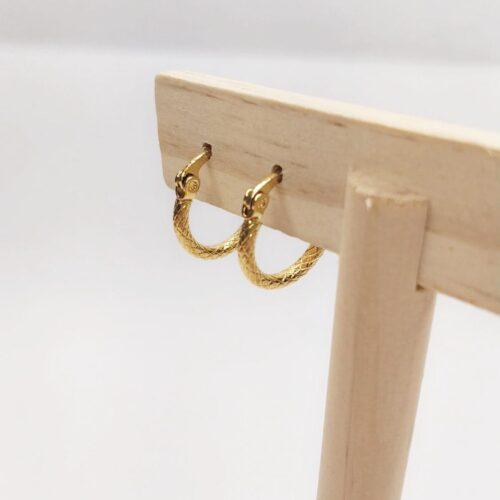 pendientes mini aro con textura dorados