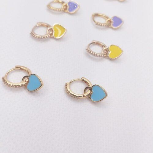 pendientes mini aro detalle corazón color azul